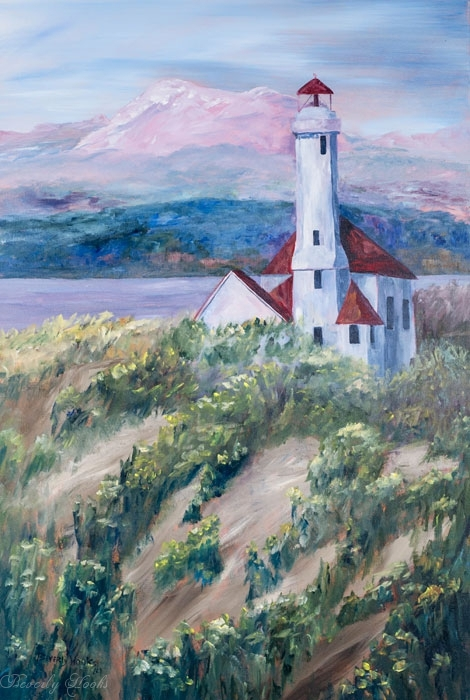 Painting of the Fort Worden Lighthouse in Port Townsend, WA