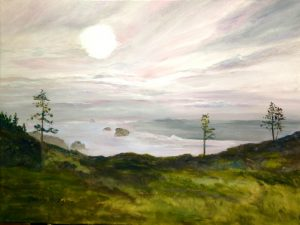 Painting of Misty Sea at Ecola Park by Beverly Hooks